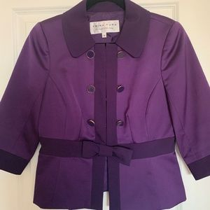 Trina Turk Purple Silk Jacket with Bow